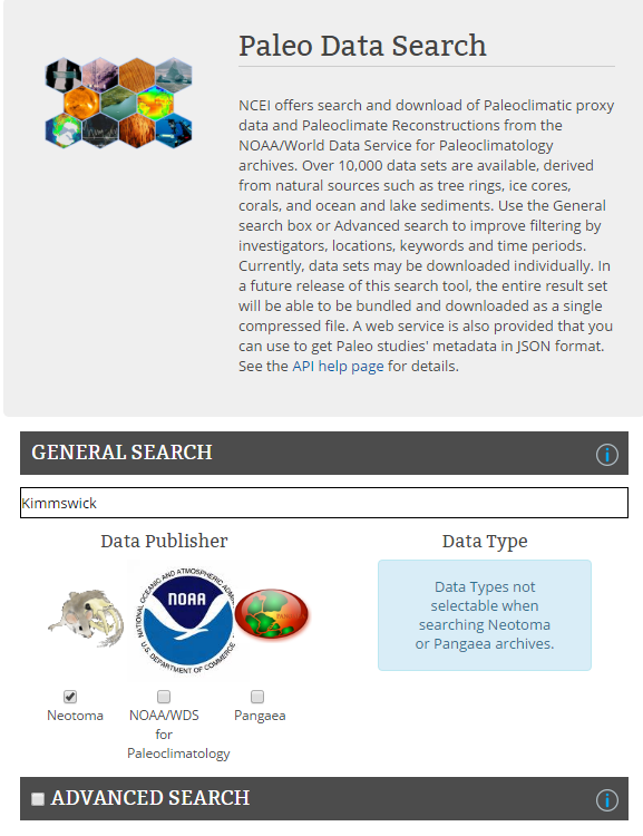 Neotoma accessible via the new NOAA-NCEI Paleo Data Search